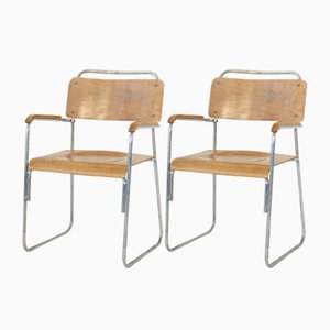 Vintage Steel Tube Chairs, Set of 2