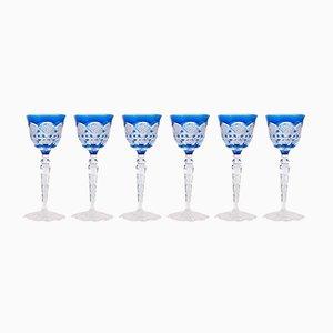 Copas de vino de cristal tallado de Val Saint Lambert, años 60. Juego de 6