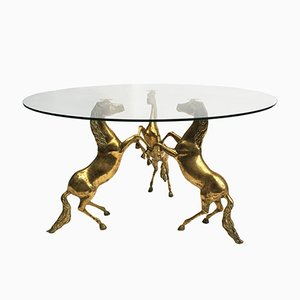Brass Horse Coffee Table, 1970s