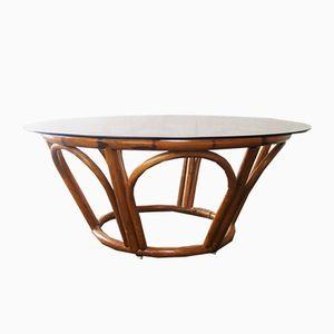 Teak, Bamboo & Glass Coffee Table, 1970s