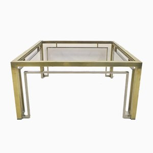 Italian Brass and Chrome Coffee Table, 1970s