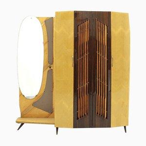 Italienischer Kleiderschrank mit Spiegel & Garderobe, 1950er