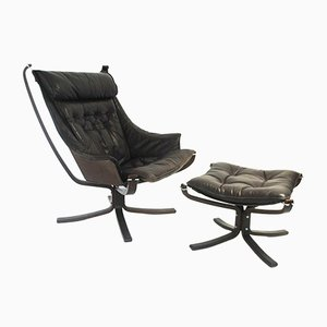 Falcon Lounge Chair and Footstool by Sigurd Ressell for Vatne Møbler, 1960s