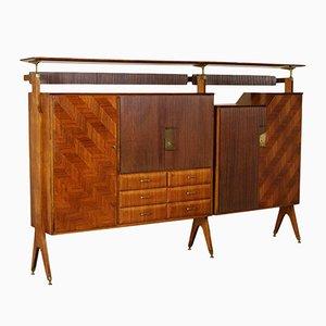 Italian Teak Veneer & Brass Cupboard, 1960s