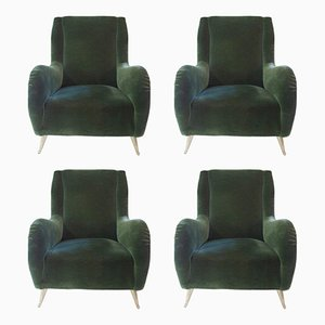 Gilded Brass & Textile Armchairs form ISA Bergamo, 1960s, Set of 4