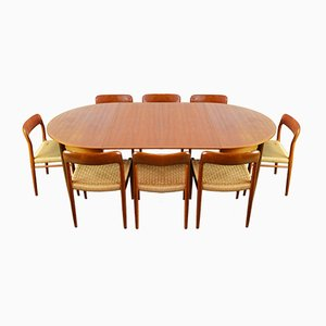 Large Teak Dining Set by Niels Otto Møller for J.L. Møllers, 1950s