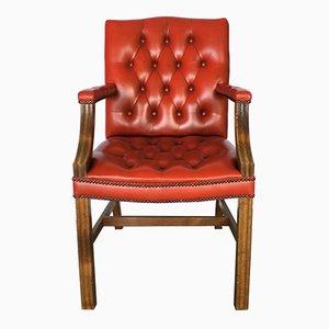 Schreibtisch Armlehnstuhl aus rotem Leder, 1970er