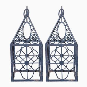 French Iron Lanterns, 1980s, Set of 2