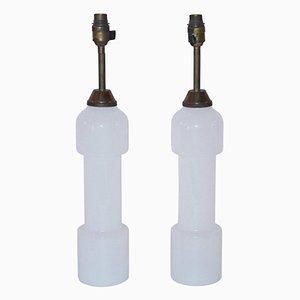 Lampes de Bureau en Verre Opalin Blanc, France, 1970s, Set de 2