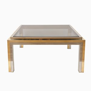 Table Basse en Verre Fumé & Chrome par Romeo Rega, 1970s