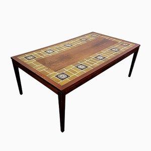 Grande Table Basse en Palissandre & Carrelage par Severin Hansen pour Haslev, Danemark, 1960s