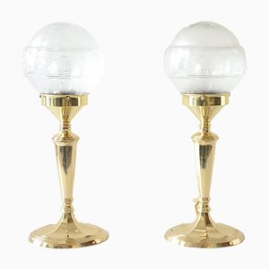 Glass Table Lamps with Oval Bases, 1900s, Set of 2