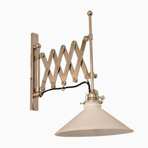Art Deco Adjustable Nickel-Plated Wall Lamp with Opal Glass, 1920s