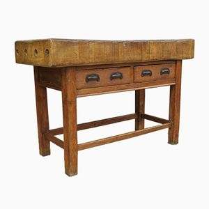 Antique English Sycamore Butchers Block Table