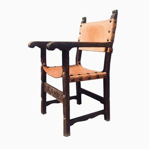 Antique Spanish Oak & Leather Armchair