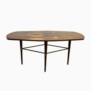 Swedish Brass & Rosewood Coffee Table by Förenade Möbler, 1950s