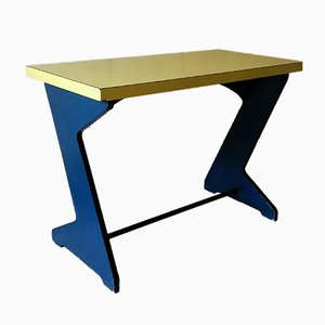 Vintage Konsolentisch in Blau & Gelb