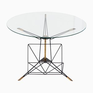 Italian Modern Round Coffee Table with Iron and Brass Frame, 1950s