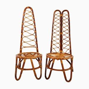 Rattan Stühle, 1970er, 6er Set
