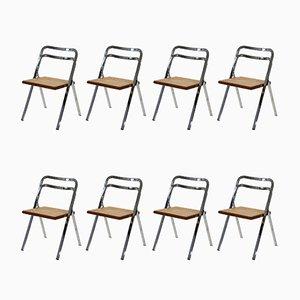 Sedie pieghevoli di Giorgio Cattelan per Cidue, anni '70, set di 8