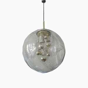 Large Hand-Blown Glass Pendant Lamp with Golden Inclusions from Doria Leuchten, 1970s