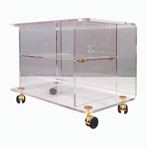Lucite & Brass Trolley, 1970s