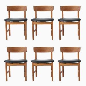 Dänische Modell 236 Esszimmerstühle von Borge Mogensen für Fredericia Stolenfabrik, 1956, 6er Set