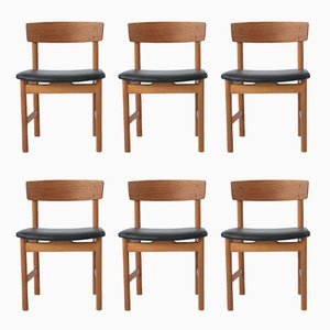 Danish Model 236 Dining Chairs by Borge Mogensen for Fredericia Stolenfabrik, 1956, Set of 6