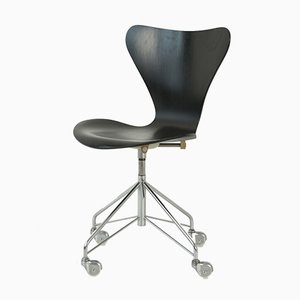 3107 Black Desk Chair by Arne Jacobsen for Fritz Hansen, 1967