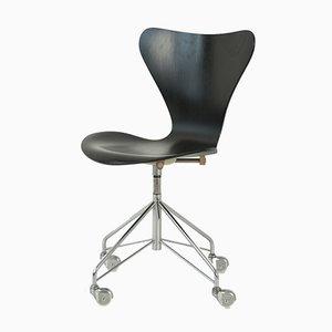 Schwarzer 3107 Schreibtischstuhl von Arne Jacobsen für Fritz Hansen, 1967