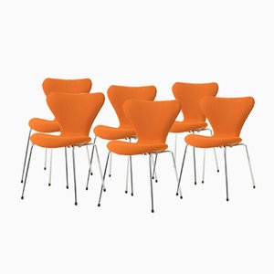 3107 Stacking Chairs by Arne Jacobsen for Fritz Hansen, 1955, Set of 6