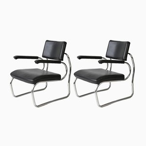 Steel Tube Sant Elia Easy Chairs by Giuseppe Terragni for Zanotta, 1980s, Set of 2