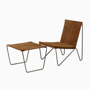 Bachelor Stuhl mit Fußhocker von Verner Panton für Fritz Hansen, 1950er