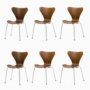Vintage Series 7 Chairs by Arne Jacobsen for Fritz Hansen, Set of 6