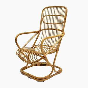 Mid-Century High Back Bamboo Armchair, 1960s