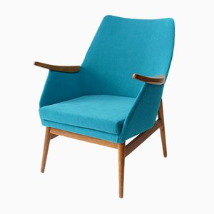 Vintage Hungarian Armchair in Turquoise Fabric, 1960s