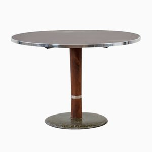 Round Bordeaux Red Anthracite Diner Table, 1950s