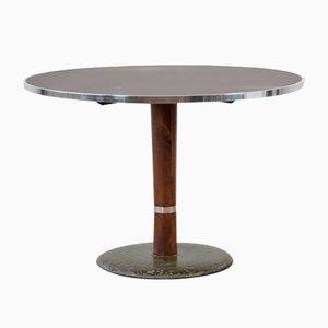 Tavolo da bistrò rotondo in linoleum e metallo cromato, anni '50