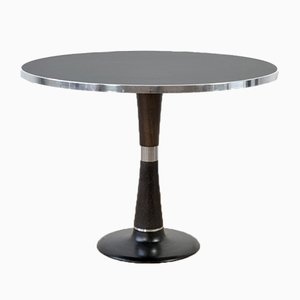 Tavolo da pranzo piccolo rotondo in linoleum e metallo cromato, anni '50