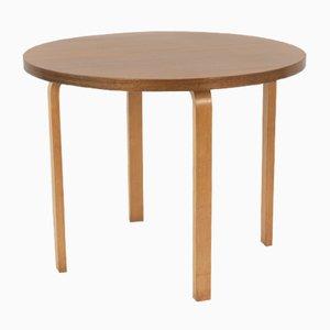 Mesa de comedor vintage pequeña redonda de abedul de Alvar Aalto para Artek
