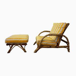 Vintage Bambus Sessel mit Hocker, 1960er