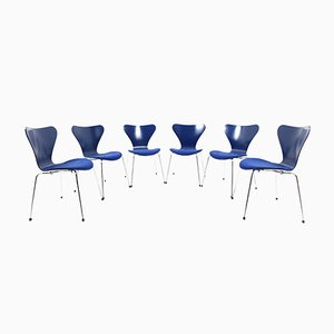 Mid-Century Model 3107 Dining Chairs by Arne Jacobsen for Fritz Hansen, Set of 6