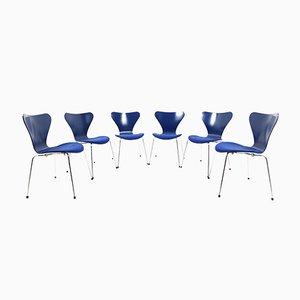 Sedie da pranzo modello 3107 Mid-Century di Arne Jacobsen per Fritz Hansen, set di 6