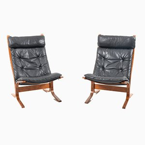 High Back Lounge Chairs by Ingmar Relling for Westnofa, 1970s, Set of 2