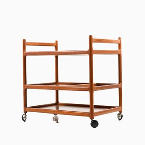 Mid-Century Danish Teak Serving Trolley by Johannes Andersen for CFC Silkeborg
