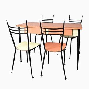 Tavolo e quattro sedie da pranzo Mid-Century in formica