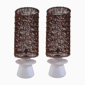 Lampade da tavolo in vimini e intonaco, anni '50, set di 2
