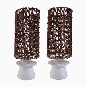 Plaster & Wicker Table Lamps, 1950s, Set of 2