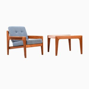 Danish Teak Lounge Chair and Side Table by Arne Wahl Iversen for Komfort, 1970s