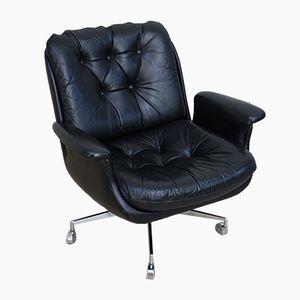 Vintage Sessel aus schwarzem Leder & verchromtem Stahl, 1960er